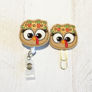Thanksgiving Turkey Badge Reel, Planner Clip, ID Holder, Magnet, Brooch Pin, (929)