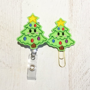 Christmas Tree Badge Reel, Planner Clip, ID Holder, Magnet, Brooch Pin, (1059)