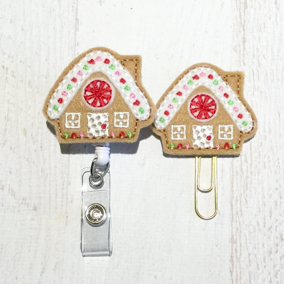 Christmas Gingerbread House Badge Reel, Planner Clip, ID Holder, Magnet, Brooch Pin, (746)