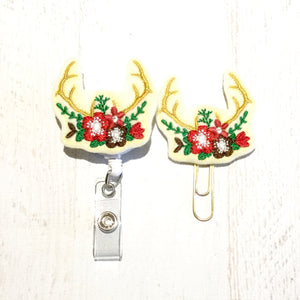 Christmas Antlers Badge Reel, Planner Clip, ID Holder, Magnet, Brooch Pin, (673)