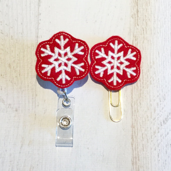 Christmas Red Snowflake Badge Reel, Planner Clip, ID Holder, Magnet, Brooch Pin, (747)