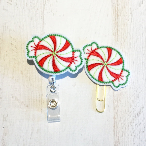 Christmas Peppermint Badge Reel, Planner Clip, ID Holder, Magnet, Brooch Pin, (758)