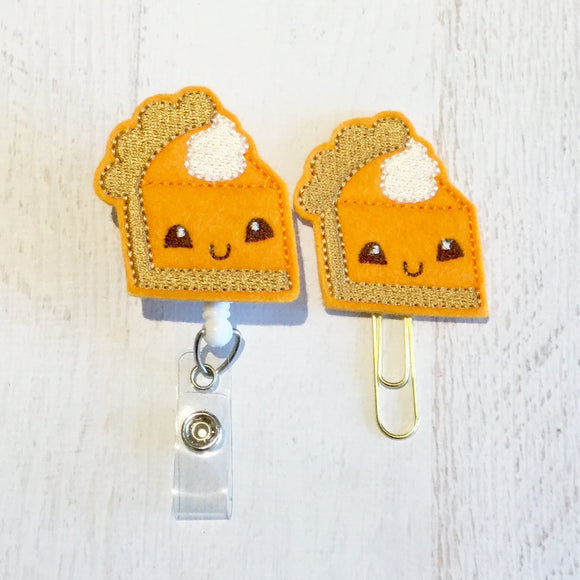 Fall Pumpkin Pie Badge Reel, Planner Clip, ID Holder, Magnet, Brooch Pin, (107)