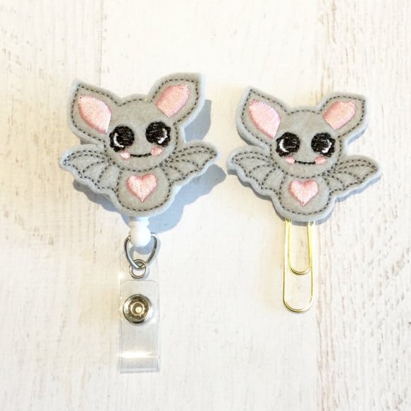 Bat Badge Reel, Planner Clip, ID Holder, Magnet, Brooch Pin, (398)