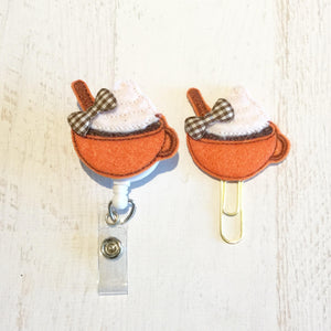 Fall Pumpkin Latte Badge Reel, Planner Clip, ID Holder, Magnet, Brooch Pin, (97)