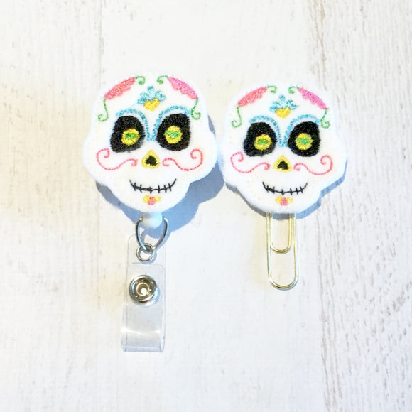 Halloween Sugar Skull Badge Reel, Planner Clip, ID Holder, Magnet, Brooch Pin, (229)
