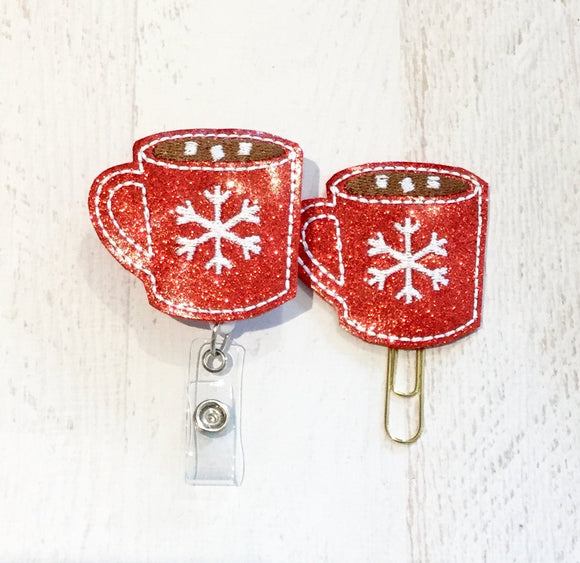 Glitter Winter Cocoa Mug Badge Reel, Planner Clip, ID Holder, Magnet, Brooch Pin, (345)