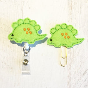 Dinosaur Badge Reel, Planner Clip, ID Holder, Magnet, Brooch Pin, (823)