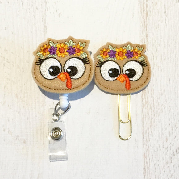 Thanksgiving Turkey Badge Reel, Planner Clip, ID Holder, Magnet, Brooch Pin, (821)