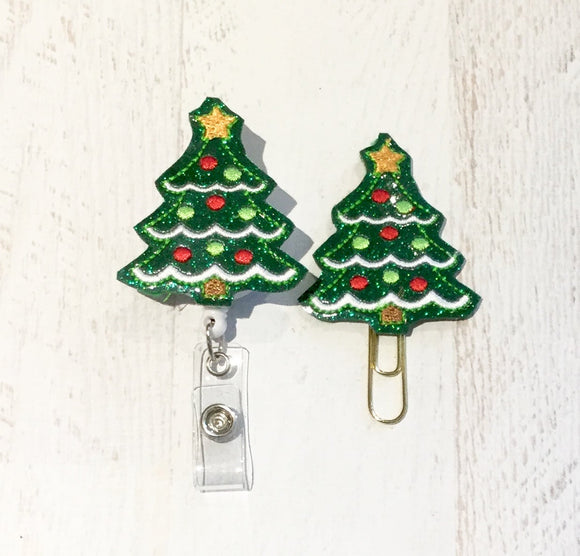 Glitter Christmas Tree Badge Reel, Planner Clip, ID Holder, Magnet, Brooch Pin, (1038)