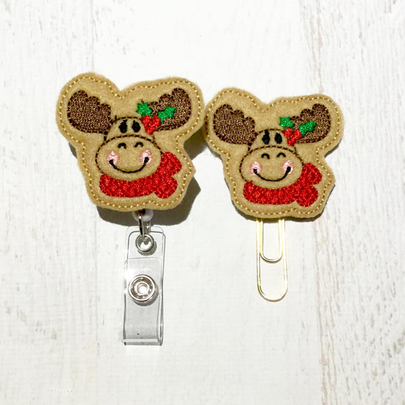 Christmas Moose Badge Reel, Planner Clip, ID Holder, Magnet, Brooch Pin, (385)