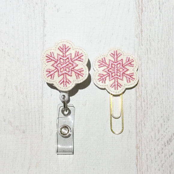 Glitter Pink Snowflake Badge Reel, Planner Clip, ID Holder, Magnet, Brooch Pin, (755)