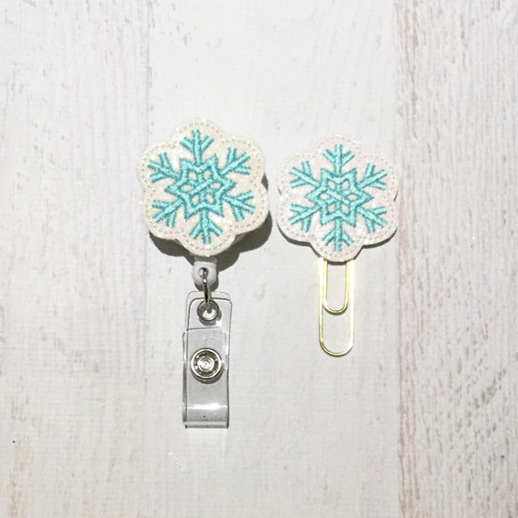 Glitter Blue Snowflake Badge Reel, Planner Clip, ID Holder, Magnet, Brooch Pin, (757)