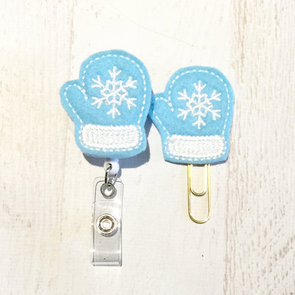 Blue Winter Mitten Badge Reel, Planner Clip, ID Holder, Magnet, Brooch Pin, (419)