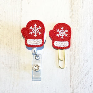 Christmas Red Mitten Badge Reel, Planner Clip, ID Holder, Magnet, Brooch Pin, (768)