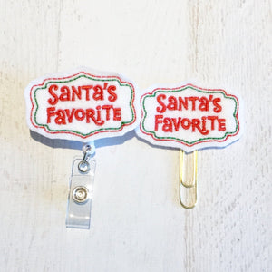 Christmas Santas Favorite Badge Reel, Planner Clip, ID Holder, Magnet, Brooch Pin, (662)