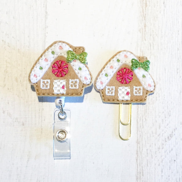 Christmas Gingerbread House Badge Reel, Planner Clip, ID Holder, Magnet, Brooch Pin,(517)