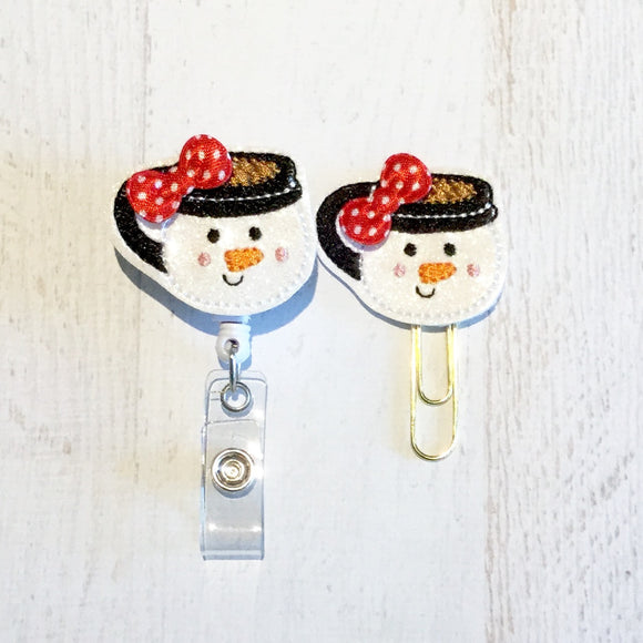 Glitter Snowman Cup Badge Reel, Planner Clip, ID Holder, Magnet, Brooch Pin, (753)