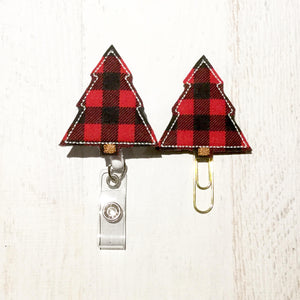 Buffalo Plaid Christmas Tree Badge Reel, Planner Clip, ID Holder, Magnet, Brooch Pin, (265)