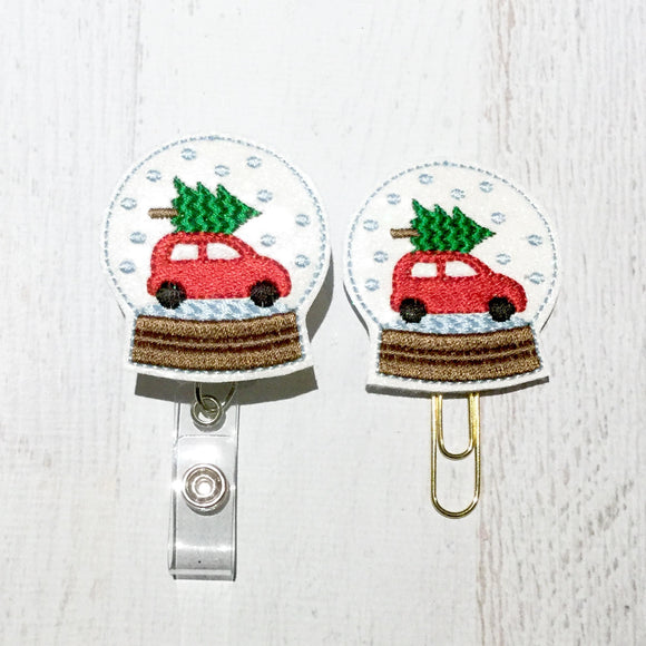 Glitter Snow Globe Red Truck Badge Reel, Planner Clip, ID Holder, Magnet, Brooch Pin, (1080)