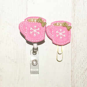 Pink Snowflake Cocoa Cup Badge Reel, Planner Clip, ID Holder, Magnet, Brooch Pin, (973)