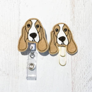 Basset Hound Dog Badge Reel, Planner Clip, ID Holder, Magnet, Brooch Pin, (282)