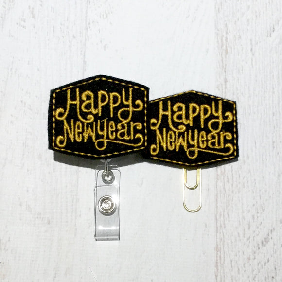 Happy New Year Badge Reel, Planner Clip, ID Holder, Magnet, Brooch Pin, (309)