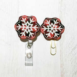 Buffalo Plaid Snowflake Badge Reel, Planner Clip, ID Holder, Magnet, Brooch Pin, (1081)