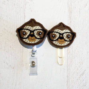 Nerdy Sloth Badge Reel, Planner Clip, ID Holder, Magnet, Brooch Pin, (326)
