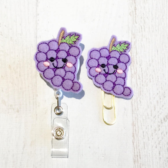 Bunch of Grapes Badge Reel, Planner Clip, ID Holder, Magnet, Brooch Pin, (784)
