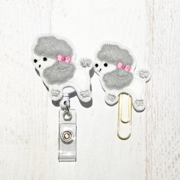 Poodle Dog Badge Reel, Planner Clip, ID Holder, Magnet, Brooch Pin, (919)