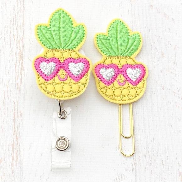 Cool Pineapple Badge Reel, Planner Clip, ID Holder, Magnet, Brooch Pin, (474)