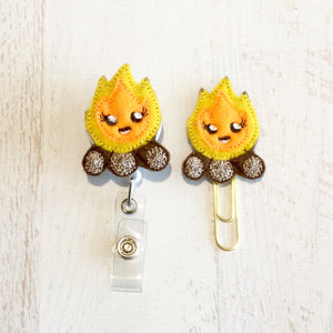 Camp Fire Bonfire Badge Reel, Planner Clip, ID Holder, Magnet, Brooch Pin,  (267)
