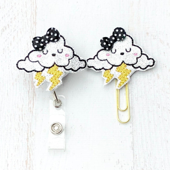 Glitter Storm Lightning Cloud Badge Reel, Planner Clip, ID Holder, Magnet, Brooch Pin,  (20)