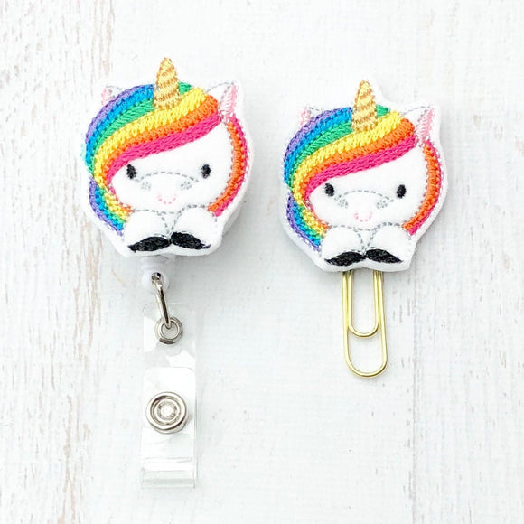 Unicorn Badge Reel, Planner Clip, ID Holder, Magnet, Brooch Pin, (437)