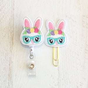 Geeky Bunny Rabbit Badge Reel, Planner Clip, ID Holder, Magnet, Brooch Pin, (719)