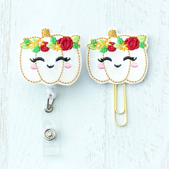 Fall Glitter White Floral Pumpkin Badge Reel, Planner Clip, ID Holder, Magnet, Brooch Pin, (848)