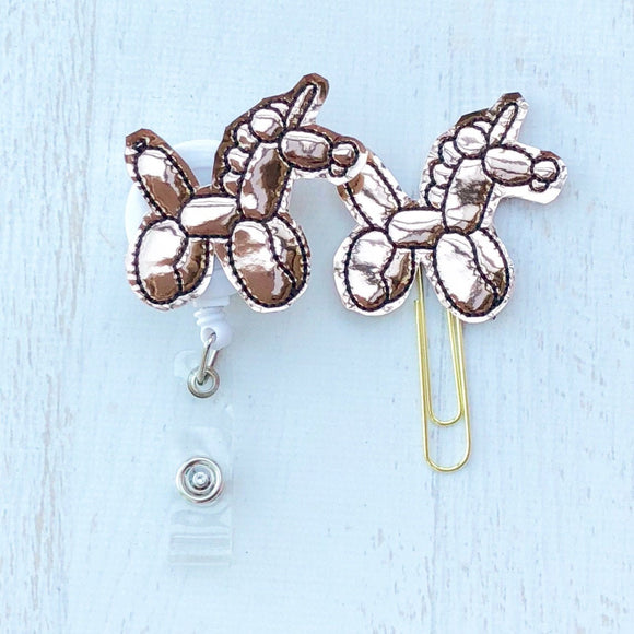 Rose Gold Unicorn Balloon Badge Reel, Planner Clip, ID Holder, Magnet, Brooch Pin, (217)