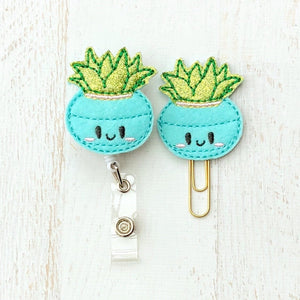 Glitter Cactus Succulent Badge Reel, Planner Clip, ID Holder, Magnet, Brooch Pin, (478)