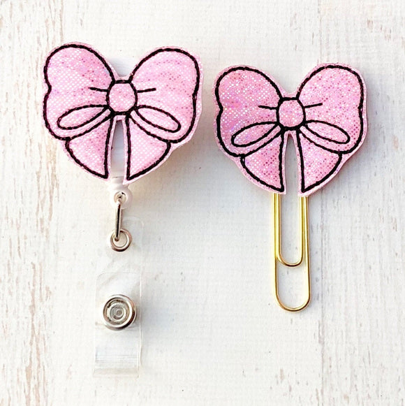 Glitter Pink Bows Badge Reel, Planner Clip, ID Holder, Magnet, Brooch Pin, (777)