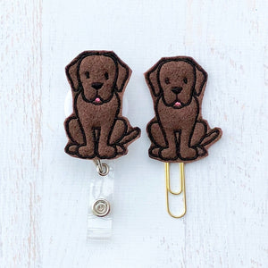 Chocolate Lab Labrador Dog Badge Reel, Planner Clip, ID Holder, Magnet, Brooch Pin, (1077)