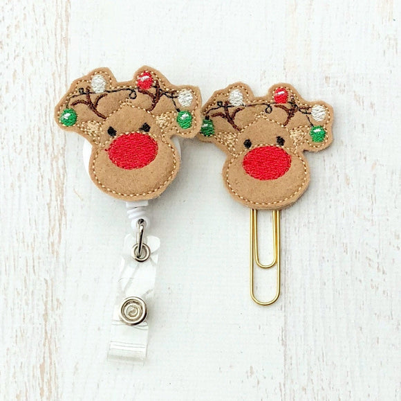 Christmas Reindeer Badge Reel, Planner Clip, ID Holder, Magnet, Brooch Pin, (792)