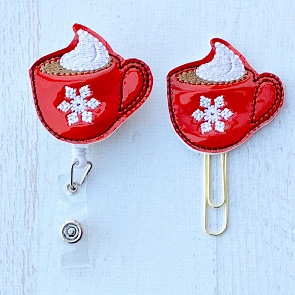 Red Vinyl Hot Chocolate Badge Reel, Planner Clip, ID Holder, Magnet, Brooch Pin, (685)