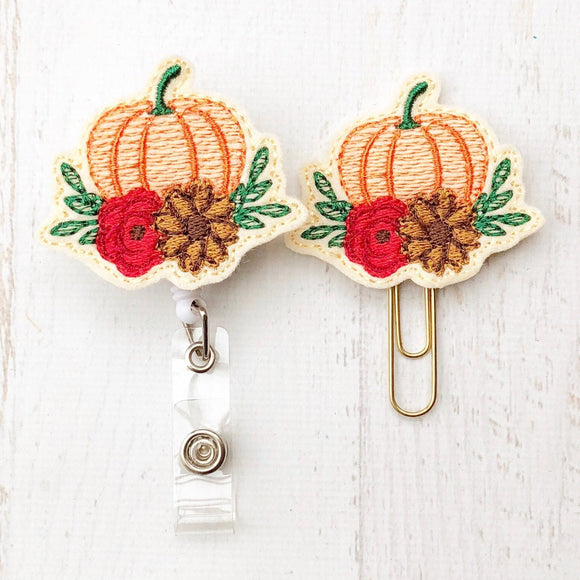 Fall Harvest Pumpkin Badge Reel, Planner Clip, ID Holder, Magnet, Brooch Pin, (313)