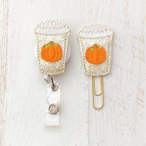Fall Glitter Pumpkin Spice Drink Badge Reel, Planner Clip, ID Holder, Magnet, Brooch Pin, (599)