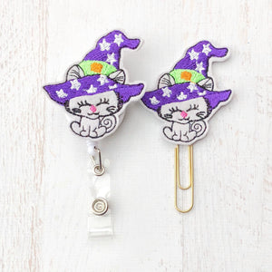 Halloween Witch Kitty Cat Badge Reel, Planner Clip, ID Holder, Magnet, Brooch Pin, (608)