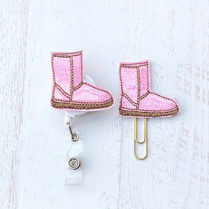 Fall Pink Glitter Winter Boot Planner clip, Badge Reel, ID Holder, Magnet, Brooch Pin, (26)