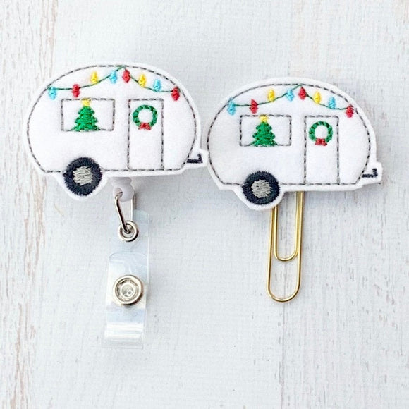 Christmas Camper Badge Reel, Planner Clip, ID Holder, Magnet, Brooch Pin, (1146)