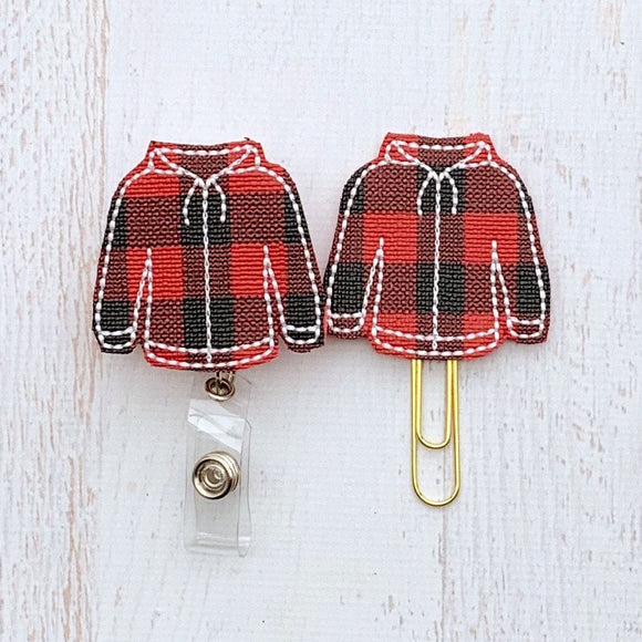Red Black Buffalo Plaid Sweatshirt Badge Reel, Planner Clip, ID Holder, Magnet, Brooch Pin, (1051)