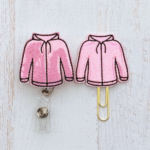 Glitter Pink Sweatshirt Badge Reel, Planner Clip, ID Holder, Magnet, Brooch Pin, (1050)